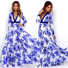 Exquisite Women Retro Floral Printed Long Sleeve V-Neck Maxi Long Dress Sundress