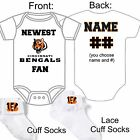 PERSONALIZED NEWEST CINCINNATI BENGALS FAN BABY GERBER ONESIE SOCKS HAT GIFT! $23.99 USD on eBay