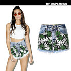 UK Womens Print Faded Stretch Tassels Ladies Denim Jeans Shorts Hotpants 4-18