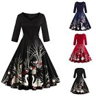 Women Floral 50's Vintage Retro Rockabilly Dress Swing Pinup Party Evening Dress