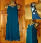NEW NEXT TEAL BLUE JEWEL SHOULDER FLOATY SUMMER TUNIC DRESS UK SIZE 8-16