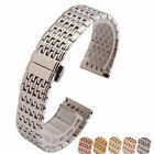 Stainless Steel Bracelets Watch Bands Straps Push Button Deployment Clasp Siver