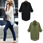 Women Button Down Chiffon T Shirt Long Sleeve Tops Blouse Top Perfect Shirts