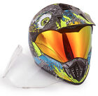 Dual Sport MX Helmet NK-310 Skull Blue Yellow With Spare Clear Anti fog Visor