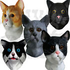 Latex Full Head Animal Cosplay Ginger Tabby Cat Fancy Prop Carnival Party Mask
