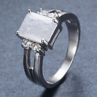 New White Gold Filled Jewelry 3 Colors Princess Ice Zircon Solitaire Ring Sz7-9
