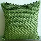 "Textured Green Faux Suede 12""x12"" Throw Pillows Cover - Go Green"