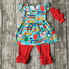 Girls Back to School Bus Blue Flutter Dress Red Icing Capris Bow Outfit Set 3T-8