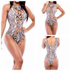 Fashion Crop Top One-Piece Suit Swimsuit Strappy Bikini Curvy Floral Pattern New