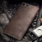 For Sony Xperia XZ Premium Vintage Leather Hard Back Case Ultra Slim Phone Cover