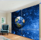 3D Space Earth Blockout Photo Curtain Printing Curtains Drapes Fabric Window AU