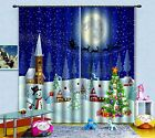3D Moon Xmas 0550 Blockout Photo Curtain Print Curtains Drapes Fabric Window UK