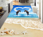 3D Love Dolphin Beach Floor WallPaper Murals Wall Print Decal 5D AJ WALLPAPER
