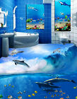 3D Playful Dolphin 2 Floor WallPaper Murals Wall Print Decal 5D AJ WALLPAPER