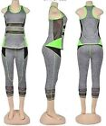 Womens Active wear 1 set 2 pcs TopLegging Capri Soft Breath Summer Yoga GYM