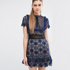 Navy & Black Portrait Mini Dress Lace S M L - Free Self Delivery