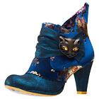 Irregular Choice Miaow Floral Womens Ankle Boots Blue Multicolour New Shoes