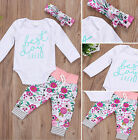 3Pcs Newborn Baby Boys Girls Long Sleeve Romper Tops Pants Outfits Set Clothes