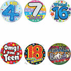 SELECTION OF LARGE JUMBO BIRTHDAY BADGES BIRTHDAY GIFT PRESENT FOR DAUGHTER SON