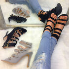 Ladies Womens High Heel Caged Sandals Gladiator Stiletto Ankle Strap Shoes Size