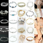 Women Girl Charm Cosy Crystal Gold/Silver Plated Bangle Bracelet Jewelry Lot