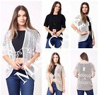 WOMENS LADIES TIE UP FRONT SHORT SLEEVE KNITTED SHRUG CARDIGAN BOLERO TOP SHRUGS