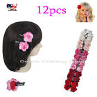 """12pcs Baby's Girl Rose Flower Tic Tac Hairpin Hair Clip Wedding Party Lots 2"""""""