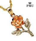 14k Yellow Gold Two Tone Rose Pendant with Rope Chain Fashionable Gift for her