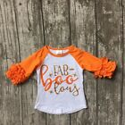 Fab-boo-lous Girls Halloween Raglan Top White with Orange Icing Sleeves 2T-8