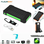 10000mAh Solar Power Bank Dual USB Waterproof Battery Charger for Smartphone LED