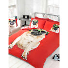 Animal Mad Pug Dog Duvet Cover Set with Reversible Paw Prints in Red & White