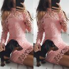 Fashion Womens Summer Lace Long Sleeve Party Evening Cocktail Short Mini Dress