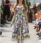 Occident runway Modern Vintage Printed fashion buttons Condole belt dress SMLXL