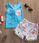 Girls Blue Bow Tank Top Pocket Pom Pom Shorts Outfit Set Summer Spring 12M-5 NEW