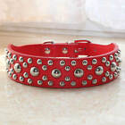 """1.4"""" Wide Leather Spiked Studded Dog Collar 5 Colors Black Rink Red Brown White"""
