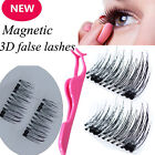3D Magnetic False Eyelashes Natural Eye Lashes Extension 4Pcs/2 Pairs & Tweezer