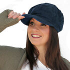 Ladies Kelsey Chunky Cord Bakerboy Cap in Black or Navy Blue
