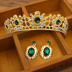 Vintage Wedding Bridal Green Crown Rhinestone Tiara Headband Hair Jewelry Set