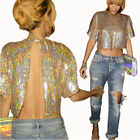 Fashion Lady/Women Full Sequin Backless Short Sleeves Tops Blouses Tee Shirts