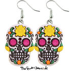 TFB - YELLOW FLOWER SUGAR SKULL DANGLE EARRINGS QUIRKY NOVELTY GIRLS GIFT GOTHIC