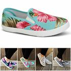 Womens Ladies Canvas Fashion Floral Trainers Skater Pumps Casual Slip On Shoes