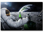 Astronaut on the Moon with Beer Funny Art Poster N85