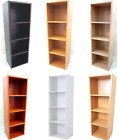 WOODEN STORAGE UNIT 4 TIER BOOKCASE SHELVING OFFICE HOME DISPLAY MANY COLOURS