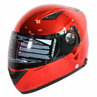 NENKI DVS Helmet NK-830 Chrome Red Full Face Motorcycle Helmet Dual Visor DOT