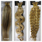 "USPS 18-32"" Stick I Tip Human Hair Extensions Straight Wavy Curly #27/613 Blonde"