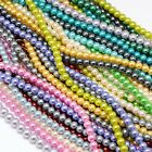 8mm Glass Pearl Round Bead Strands Cotton Cord Threaded Jewellery Making Grade A