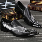 hot mens punk shoes leather metal pointed toe formal dress shoes breathable size
