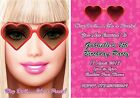 Pink Fashion Barbie Birthday Children's Party Invitations front & back print
