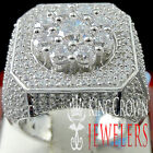 14K WHITE GOLD OVER REAL STERLING SILVER DIAMOND SIMULATE MENS PINKY RING BAND
