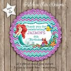 ARIEL MERMAID FAUX GLITTER PARTY PERSONALISED SCALLOP CIRCLE GLOSS STICKERS X 12